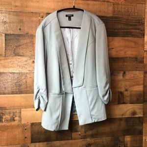 Torrid Blue Open Front Blazer w/ Rouched Sleeve